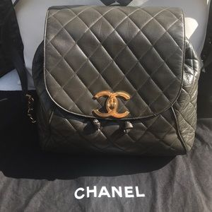 Add'l pics of Taupe jumbo CHANEL backpack
